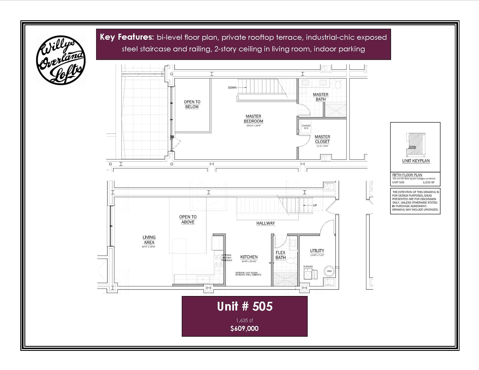 loft 505 willys overland lofts bi level floor plan with contemporary steel staircase and railing large private outdoor terrace with panoramic views of the city