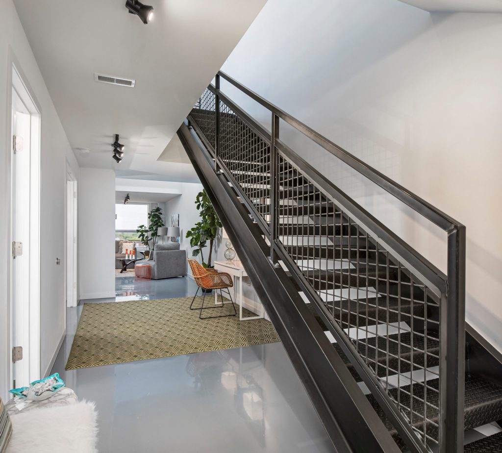 Industrial-Chic Steel Staircase at 444 W Willis St. #505, Detroit, MI 48201